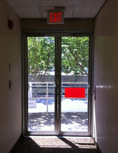 Photo of glass double exit doors for an office building