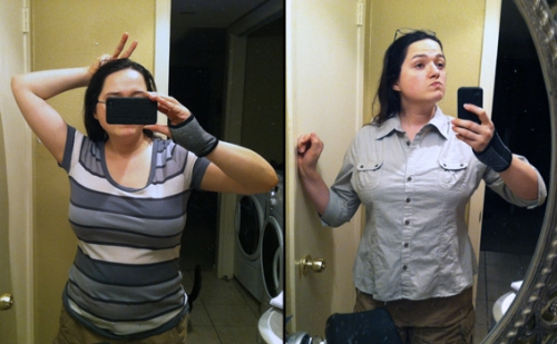 Side by side photos of a woman modeling shirts