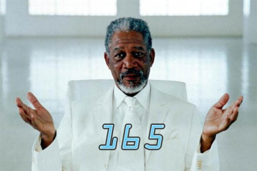 An image of actor Morgan Freeman from Evan Almighty with a number superimposed over his chest